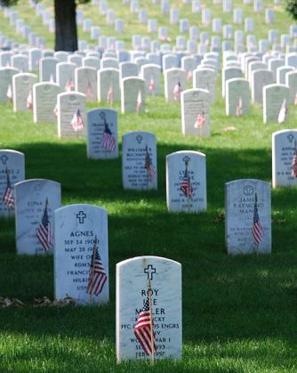 Graves on Memorial Day at Arlington National Cemetery