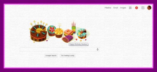 Google Doodle Happy Birthday Nadine 3-6-2015