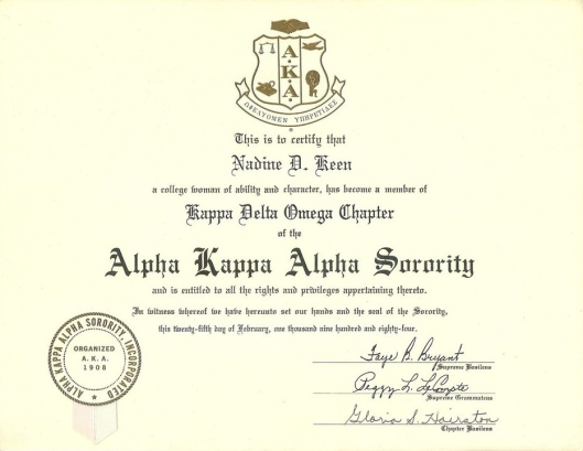 Nadine's 2-25-1984 AKA Sorority Inc., Membership Certificate